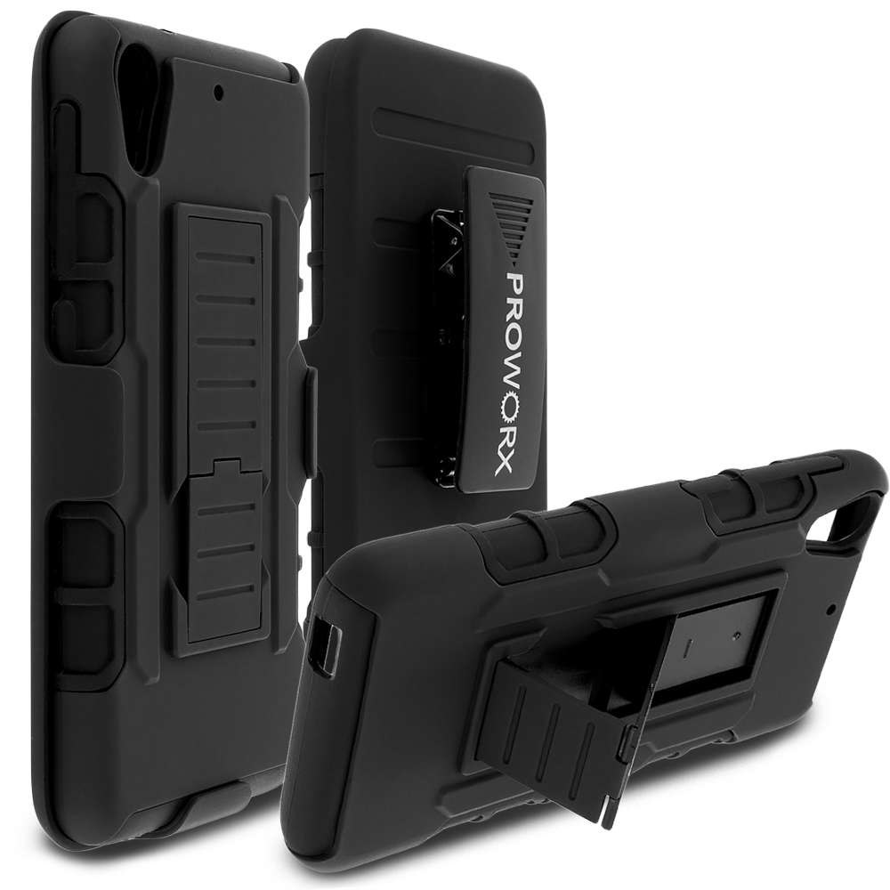 HTC Desire 626 / 626s Black ProWorx Heavy Duty Shock Absorption Armor Defender Holster Case Cover With Belt Clip
