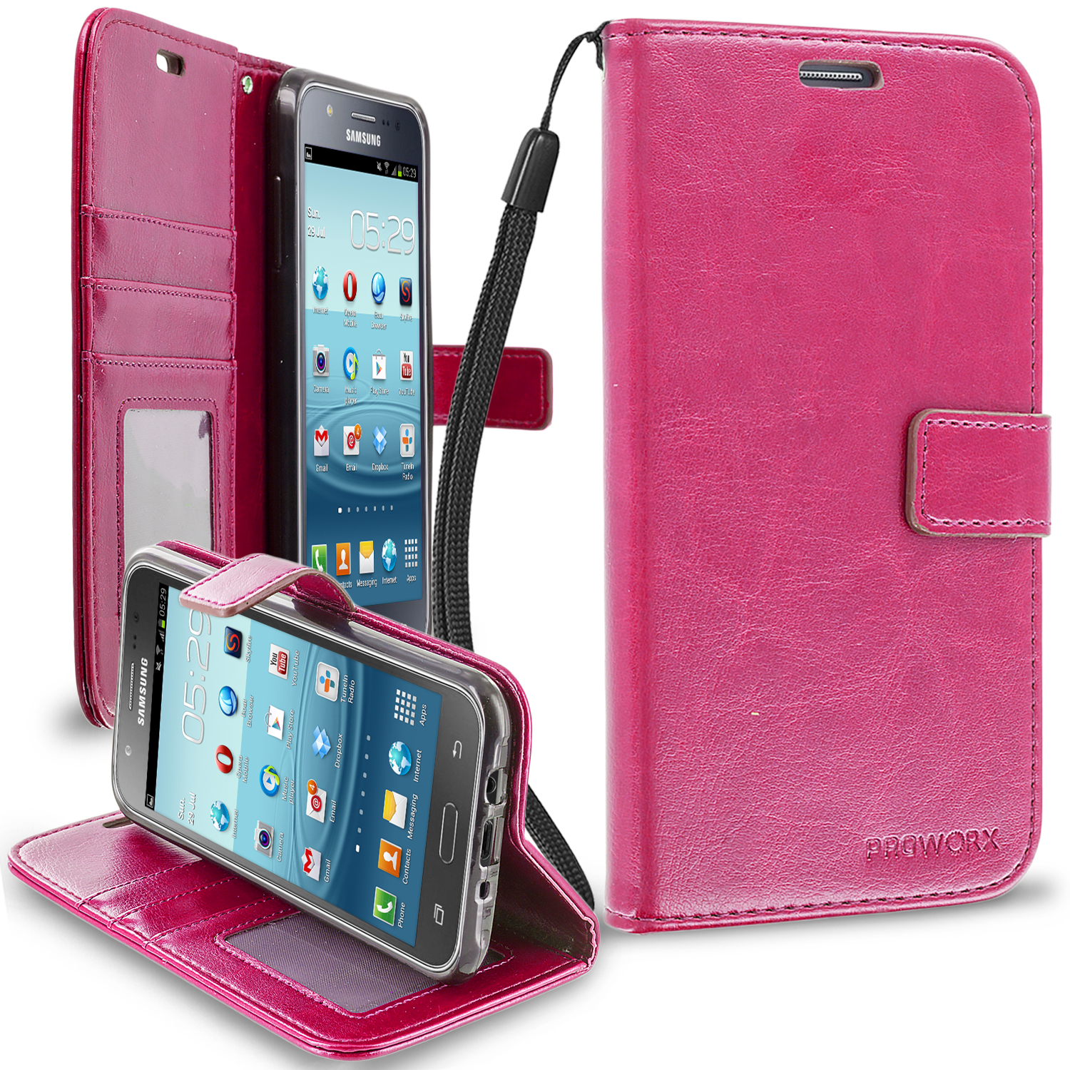 Samsung Galaxy J7 Hot Pink ProWorx Wallet Case Luxury PU Leather Case Cover With Card Slots & Stand
