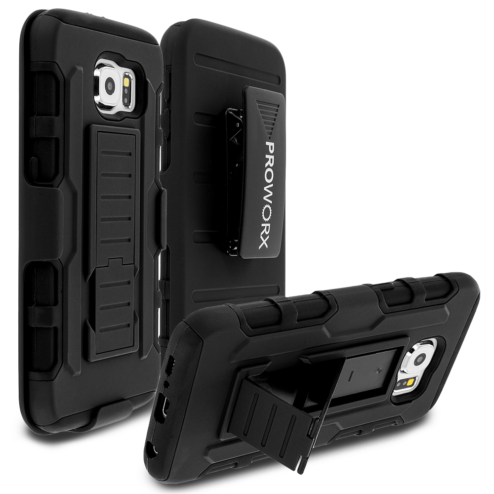 Samsung Galaxy S6 Edge Black ProWorx Heavy Duty Shock Absorption Armor Defender Holster Case Cover With Belt Clip