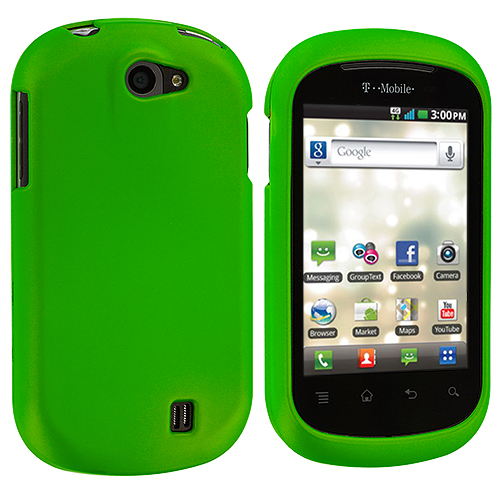 LG DoublePlay C729 / Flip II Neon Green Hard Rubberized Case Cover