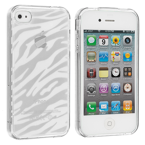 Apple iPhone 4 / 4S Clear Zebra TPU Rubber Skin Case Cover