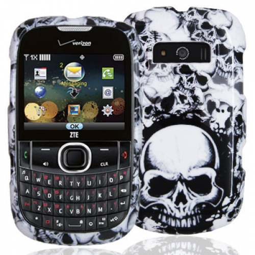 ZTE Adamant F450 Black / White Skulls Design Crystal Hard Case Cover