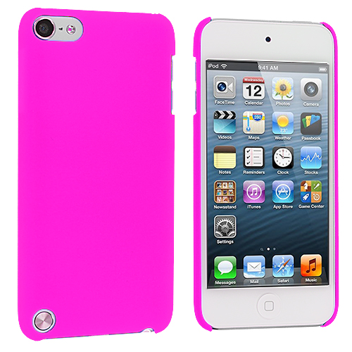 Apple iPod Touch 5th 6th Generation 2 in 1 Combo Bundle Pack - Hot Pink Yellow Hard Rubberized Back Cover Case : Color Hot Pink