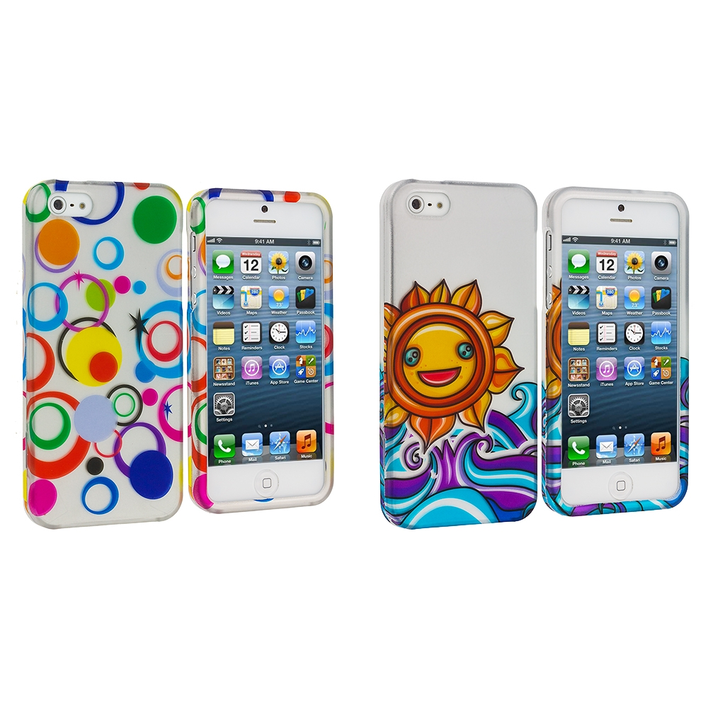 Apple iPhone 5/5S/SE Combo Pack : Colorful Circle on White Hard Rubberized Design Case Cover