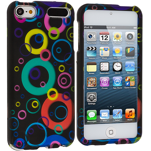 Apple iPod Touch 5th 6th Generation 2 in 1 Combo Bundle Pack - Colorful Bubbles Hard Rubberized Design Case Cover : Color Colorful Bubbles