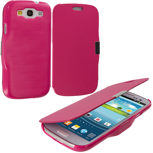 Samsung Galaxy S3 Hot Pink Texture Magnetic Wallet Case Cover Pouch
