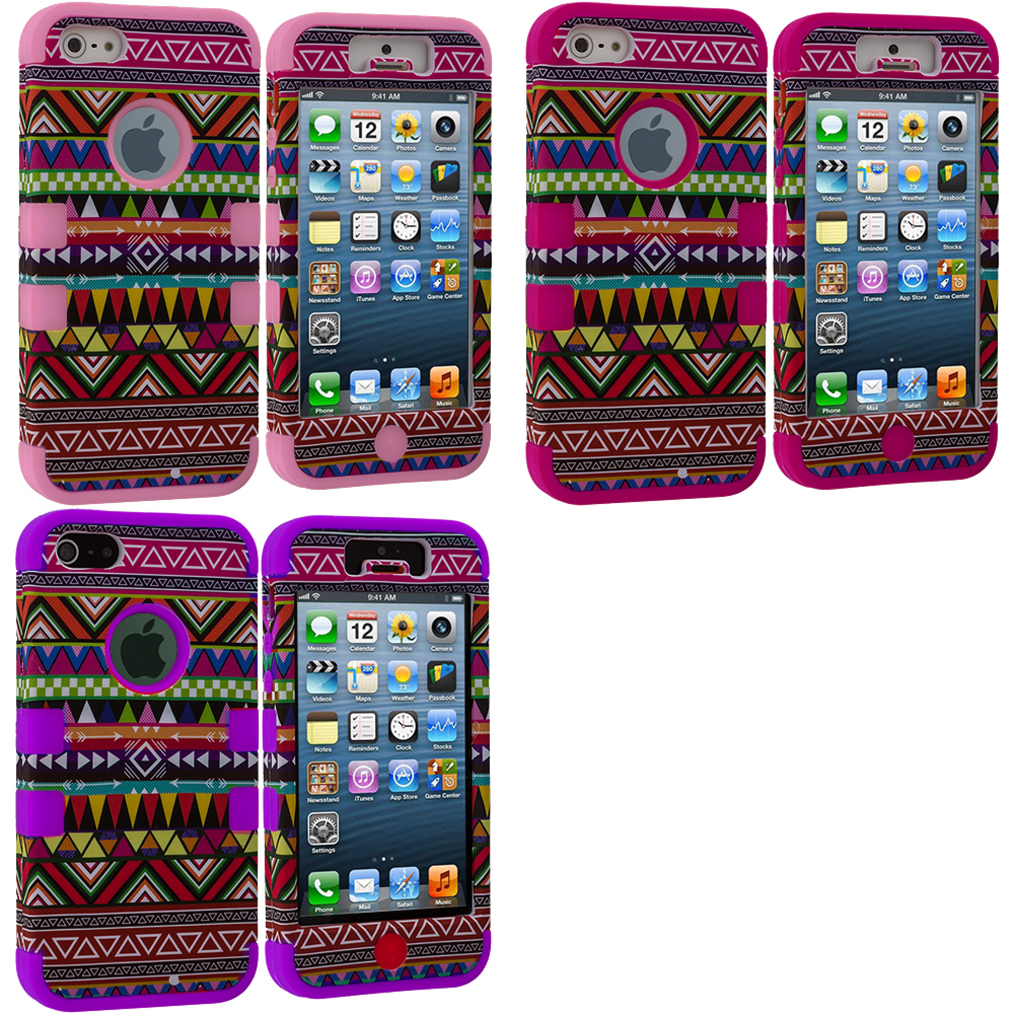 Apple iPhone 5/5S/SE Combo Pack : Pink Tribal Hybrid Tuff Hard/Soft 3-Piece Case Cover