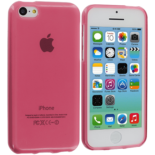 Apple iPhone 5C 2 in 1 Combo Bundle Pack - Clear Pink Transparent Crystal Hard Back Cover Case : Color Light Pink