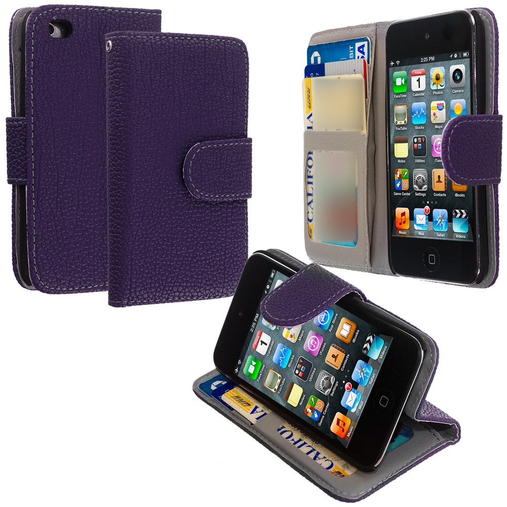 Apple iPod Touch 4th Generation Purple Leather Wallet Pouch Case Cover with Slots