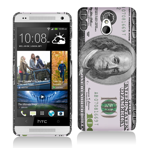 HTC One Mini Hundred Dollars Hard Rubberized Design Case Cover
