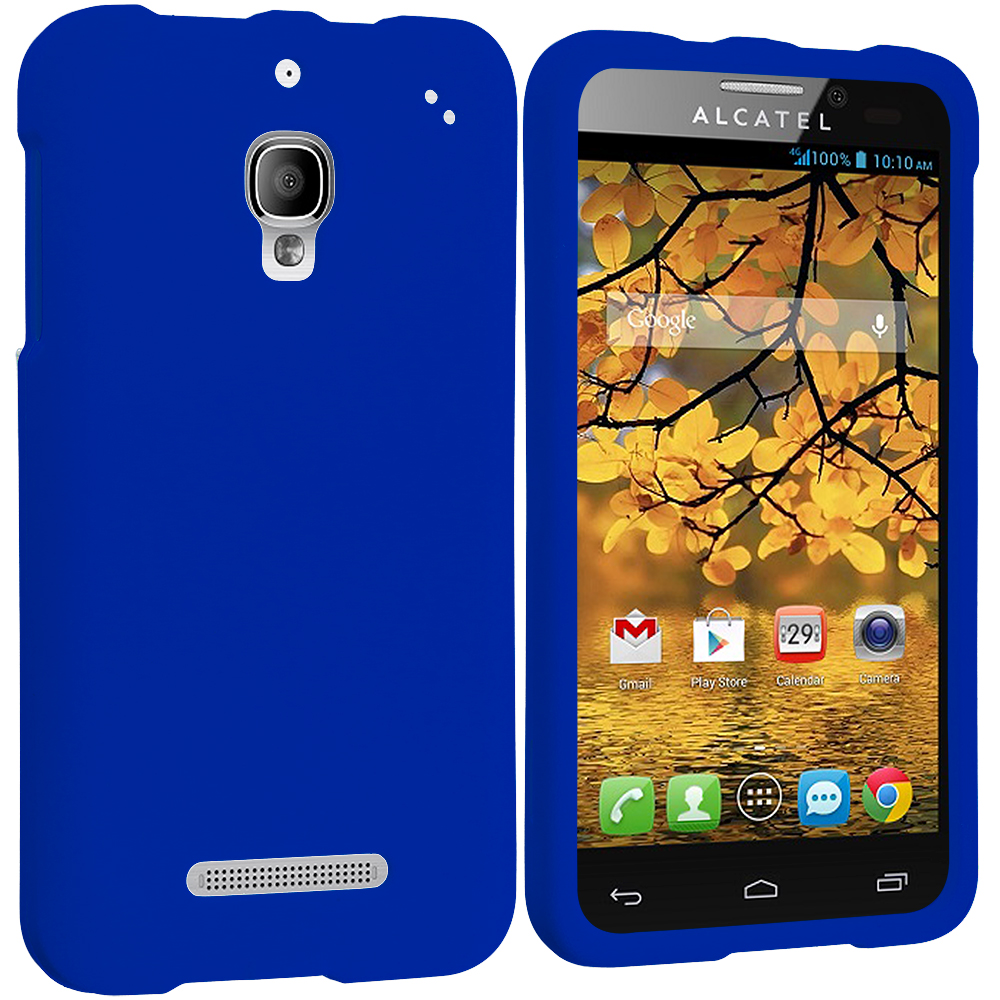 Alcatel One Touch Fierce 7024W Blue Hard Rubberized Case Cover