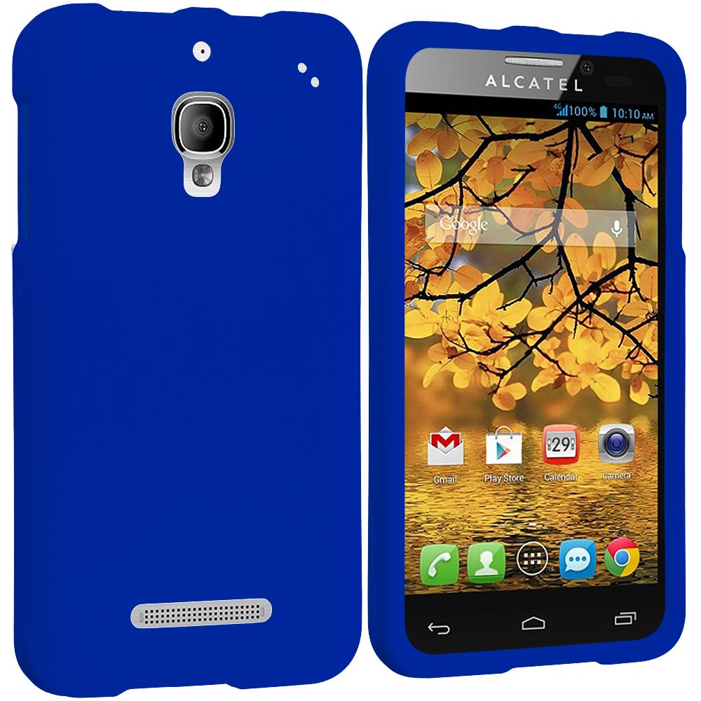 Alcatel One Touch Fierce 7024W Blue Hard Rubberized Case Cover