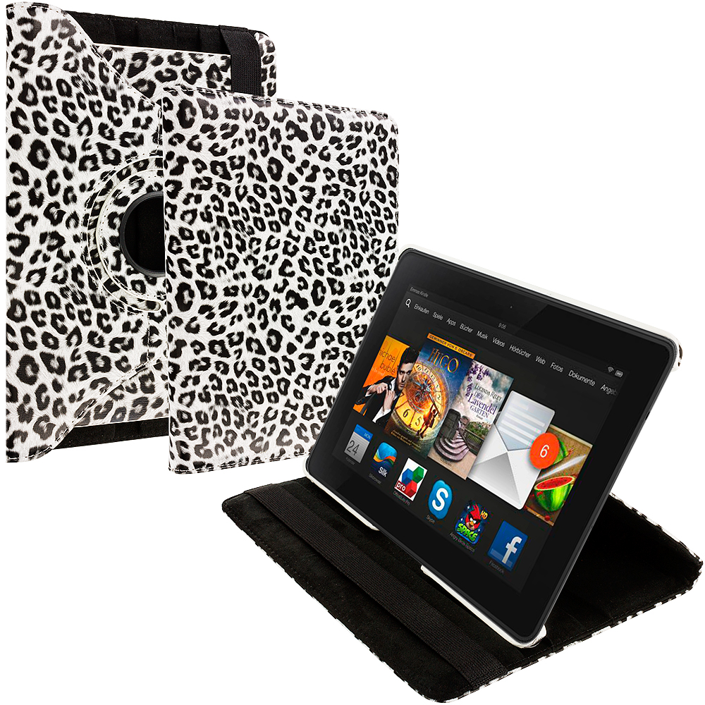 Amazon Kindle Fire HDX 7 Black White Leopard 360 Rotating Leather Pouch Case Cover Stand