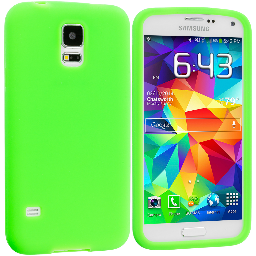 Samsung Galaxy S5 2 in 1 Combo Bundle Pack - Black Green Silicone Soft Skin Case Cover : Color Green