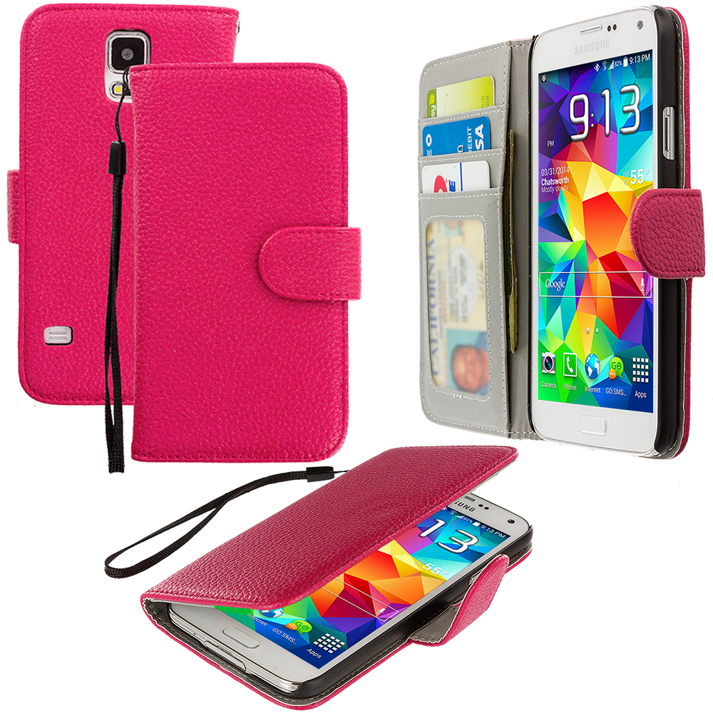 Samsung Galaxy S5 2 in 1 Combo Bundle Pack - Hot Pink Black Leather Wallet Pouch Case Cover with Slots : Color Hot Pink