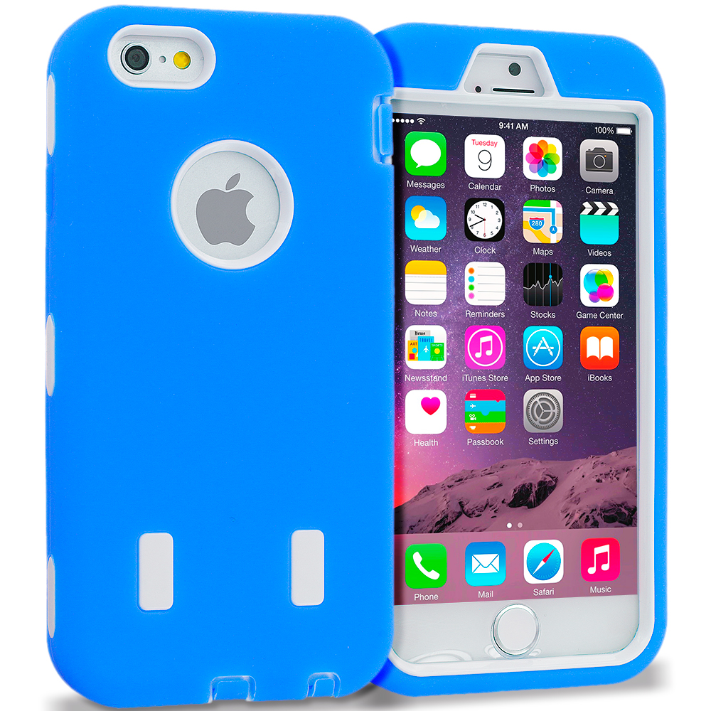 Apple iPhone 6 6S (4.7) Blue / White Hybrid Deluxe Hard/Soft Case Cover