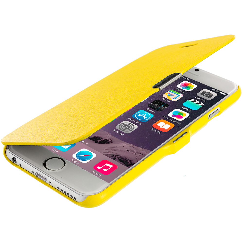 Apple iPhone 6 Plus 6S Plus (5.5) 3 in 1 Combo Bundle Pack - Magnetic Flip Wallet Case Cover Pouch : Color Yellow