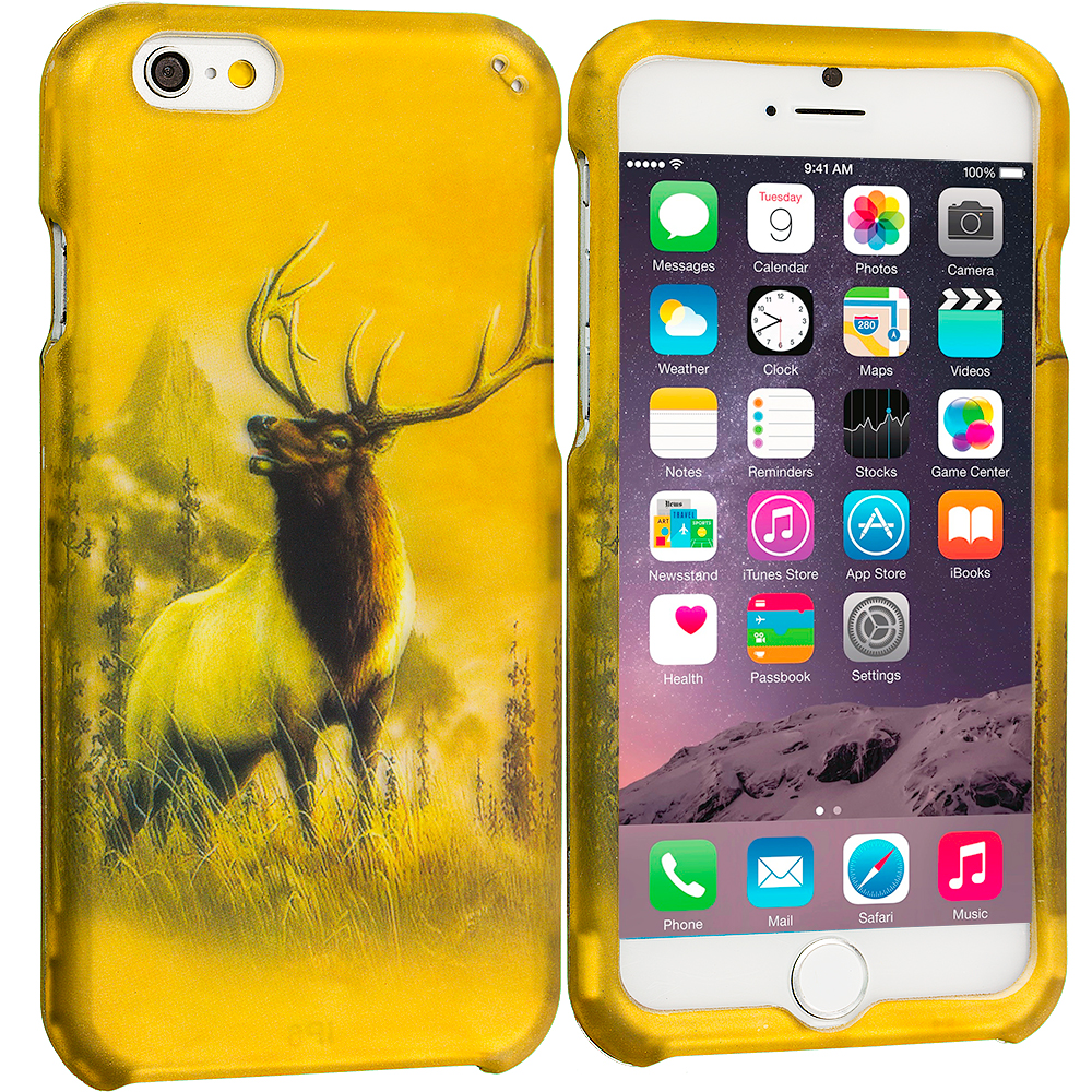 Apple iPhone 6 Plus 6S Plus (5.5) Deer 2D Hard Rubberized Design Case Cover