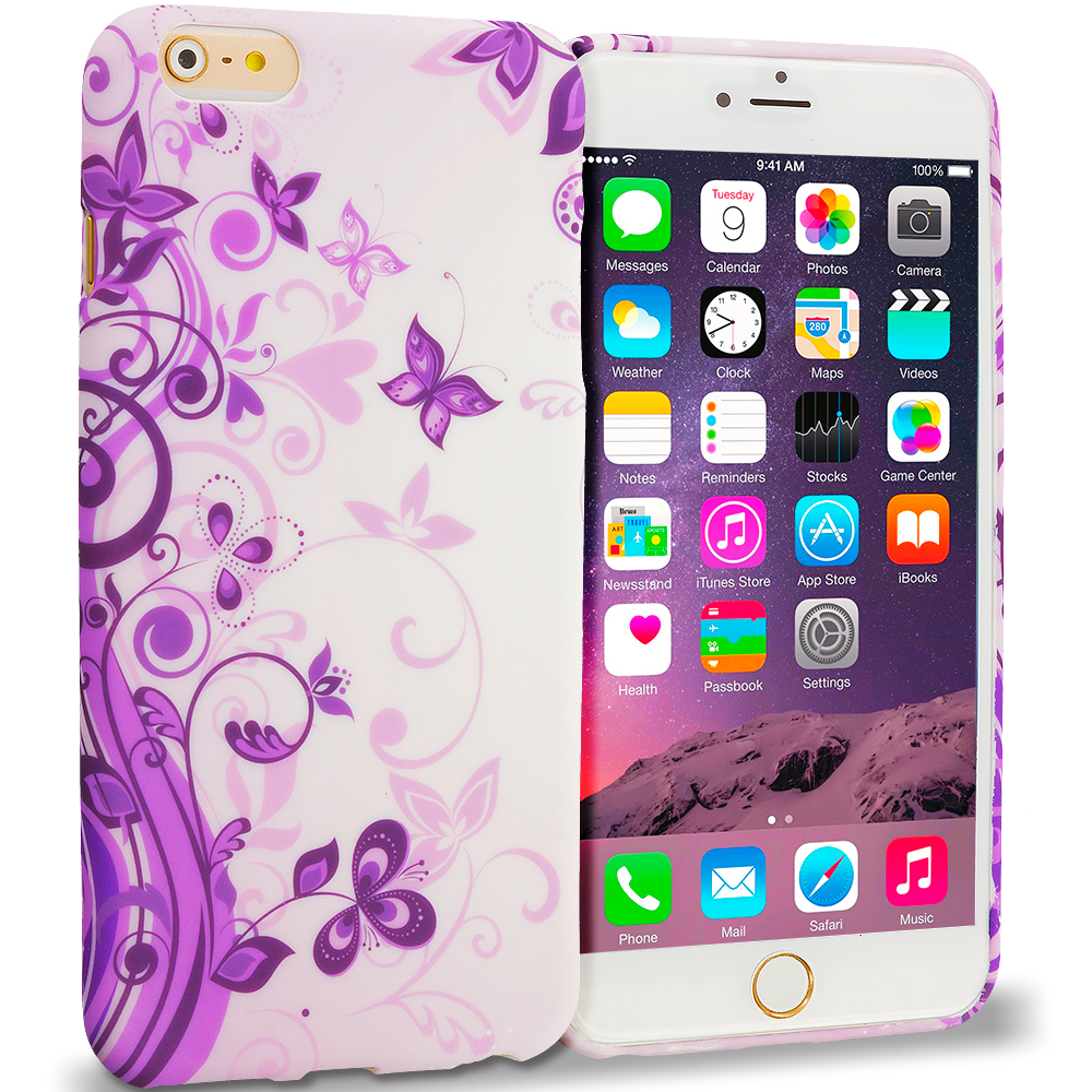 Apple iPhone 6 Plus 6S Plus (5.5) Purple Swirl TPU Design Soft Rubber Case Cover