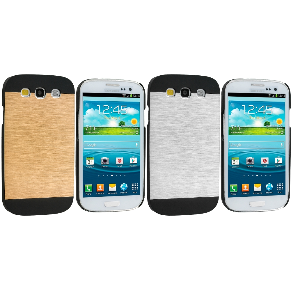 Samsung Galaxy S3 2 in 1 Combo Bundle Pack - Gold White Hybrid Luxury Aluminum Hard Case Cover