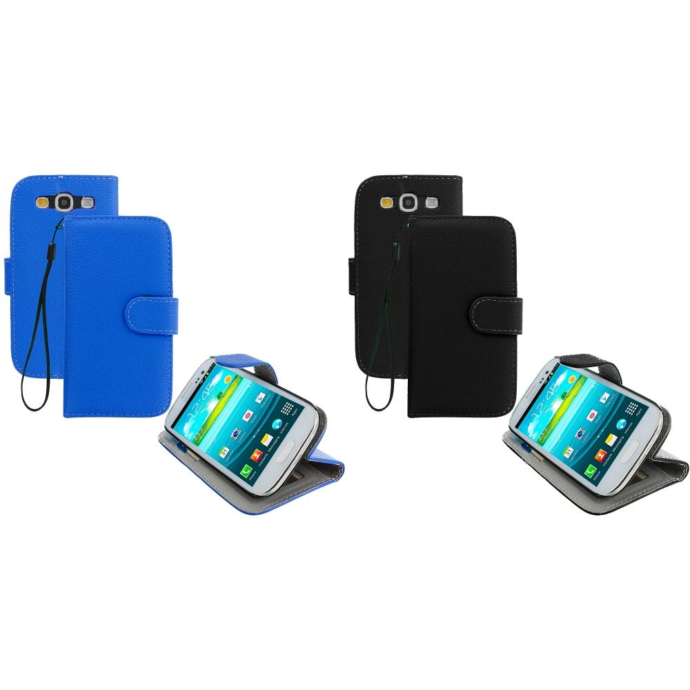 Samsung Galaxy S3 2 in 1 Combo Bundle Pack - Black Blue Leather Wallet Pouch Case Cover with Slots