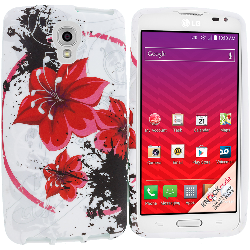 LG Volt LS740 Red Flower TPU Design Soft Rubber Case Cover