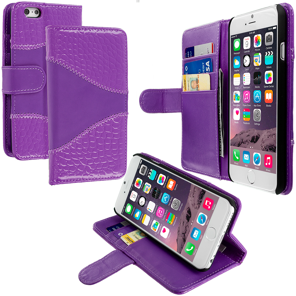 Apple iPhone 6 Plus 6S Plus (5.5) 4 in 1 Combo Bundle Pack - Crocodile Leather Wallet Pouch Case Cover with Slots : Color Purple Crocodile