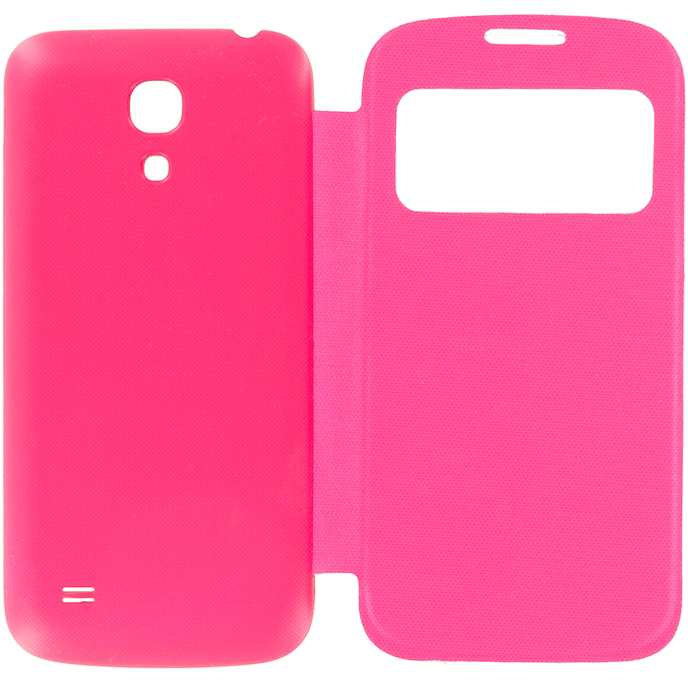 Samsung Galaxy S4 Mini i9190 Hot Pink Battery Door Rear Replacement Ultra Slim Wallet Flip Case Cover