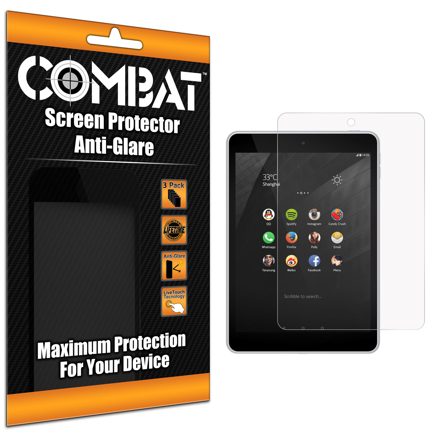 Nokia N1 Anti Glare Combat 6 Pack Anti-Glare Matte Screen Protector