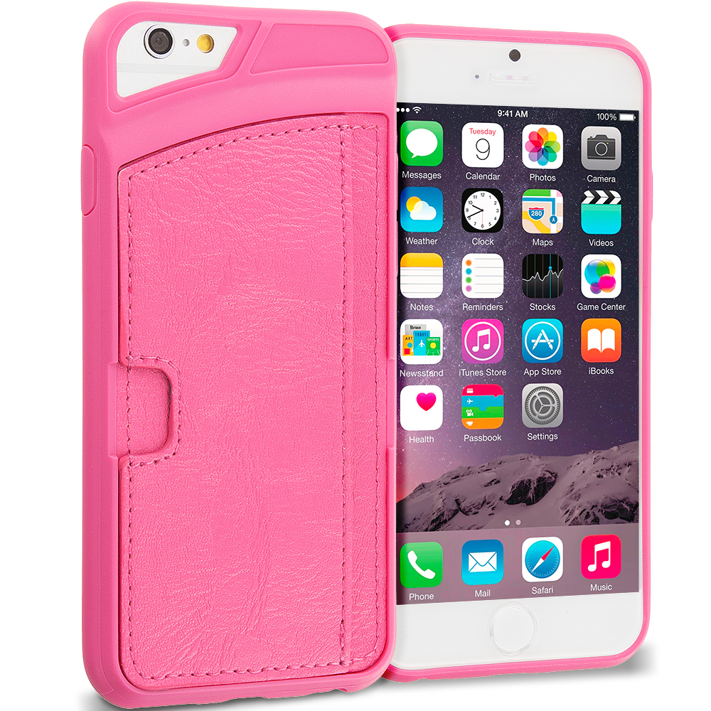 Apple iPhone 6 Plus 6S Plus (5.5) Hot Pink Hard Leather Back Wallet Card ID Holder Case Cover