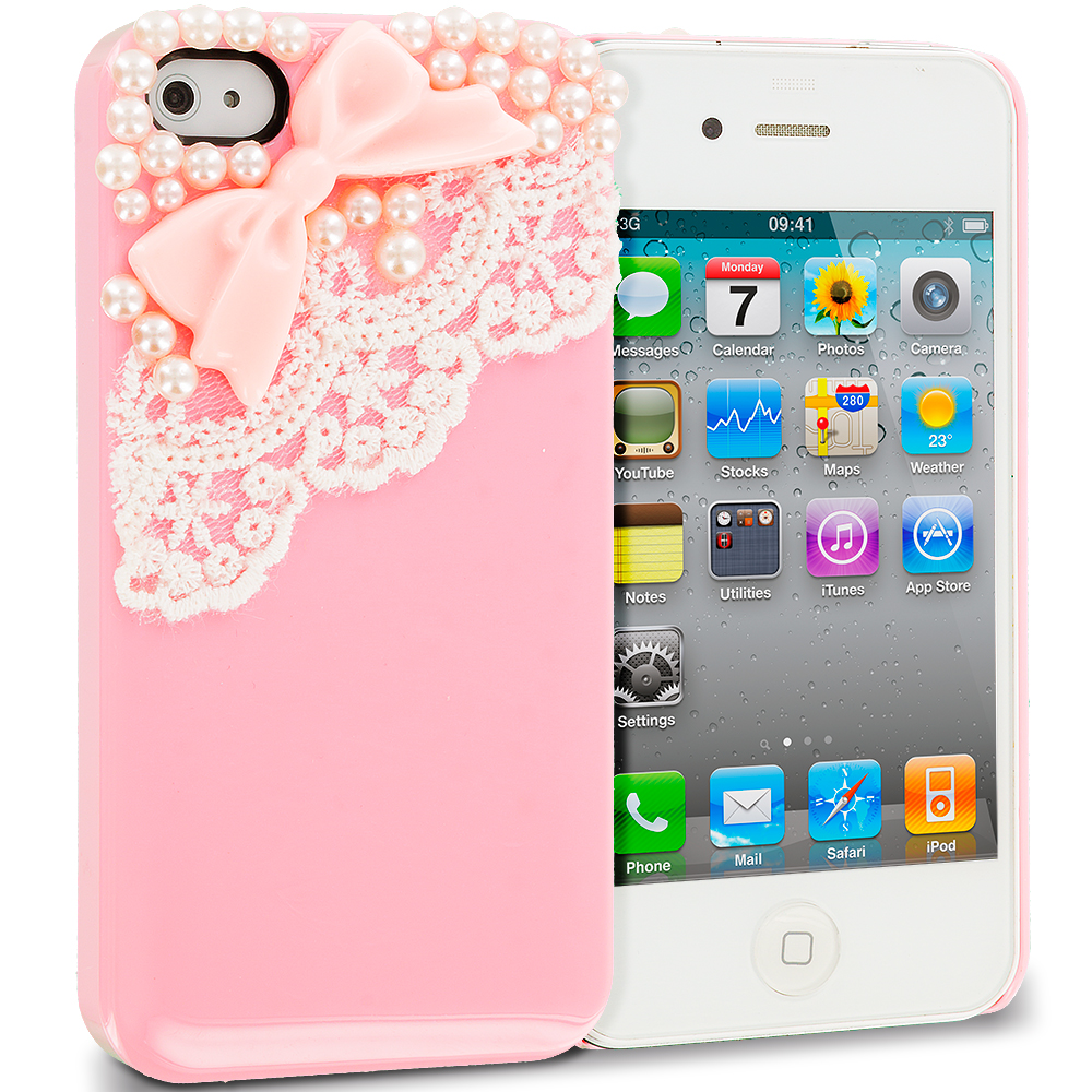 Apple iPhone 4 / 4S 2 in 1 Combo Bundle Pack - Pink White Pearls Crystal Hard Back Cover Case : Color Pink Pearls