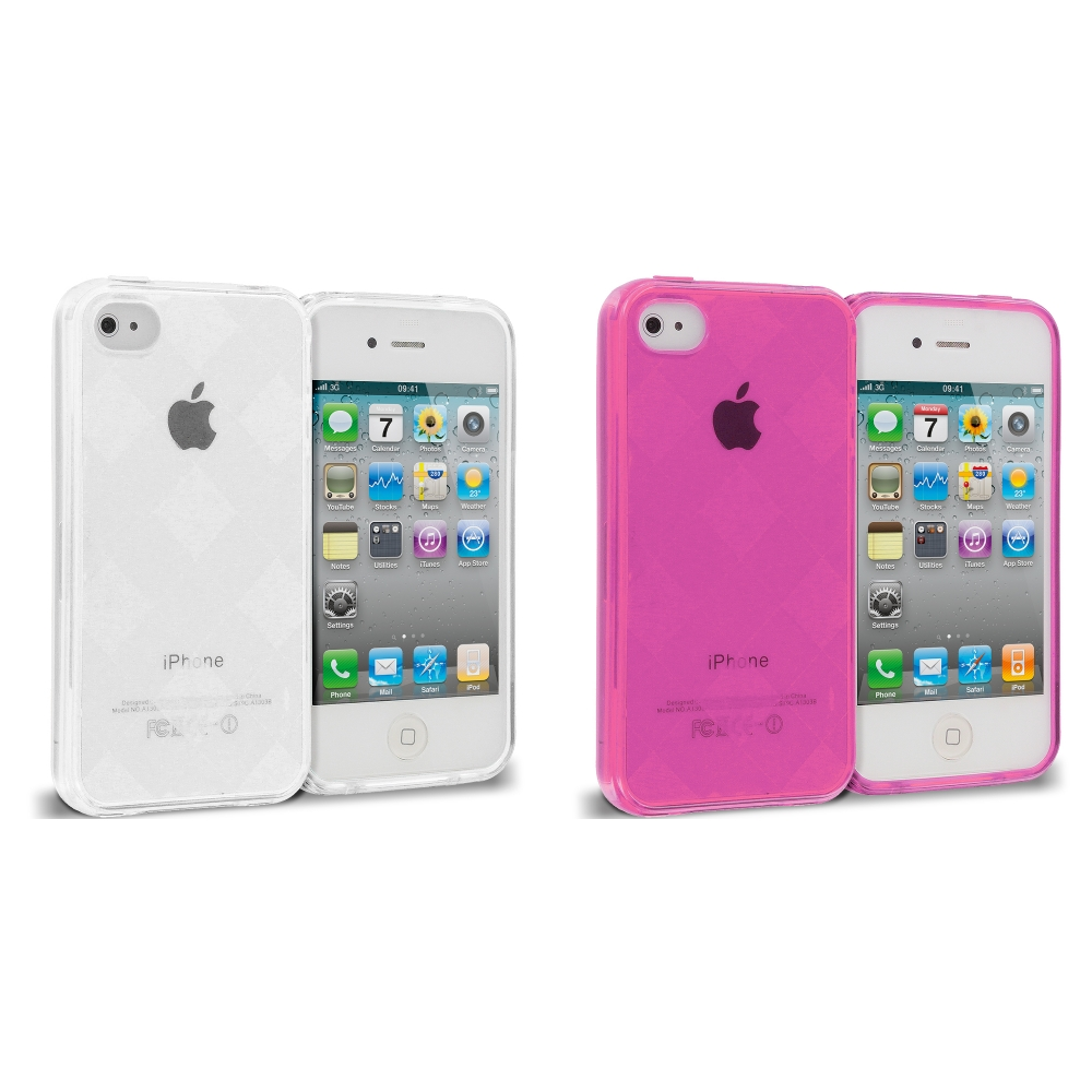 Apple iPhone 4 / 4S 2 in 1 Combo Bundle Pack - Hot Pink Clear Diamond TPU Rubber Skin Case Cover