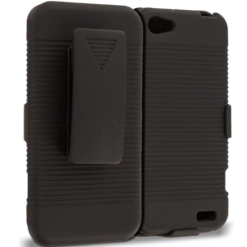 HTC One V Black Belt Clip Holster Hard Case Cover