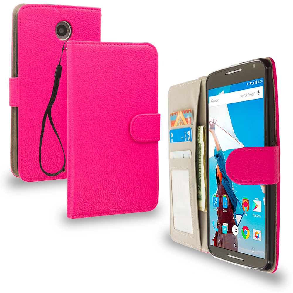 Motorola Google Nexus 6 Hot Pink Leather Wallet Pouch Case Cover with Slots