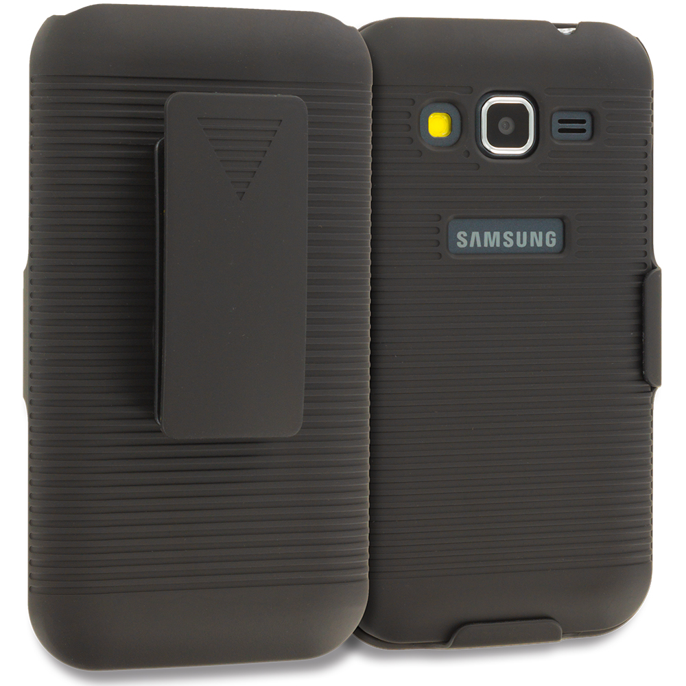 Samsung Galaxy Prevail LTE Core Prime G360P Black Belt Clip Holster Hard Case Cover