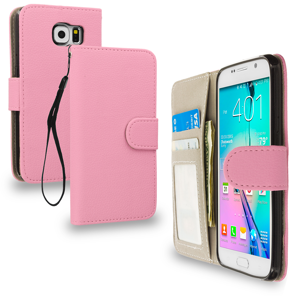 Samsung Galaxy S6 Light Pink Leather Wallet Pouch Case Cover with Slots