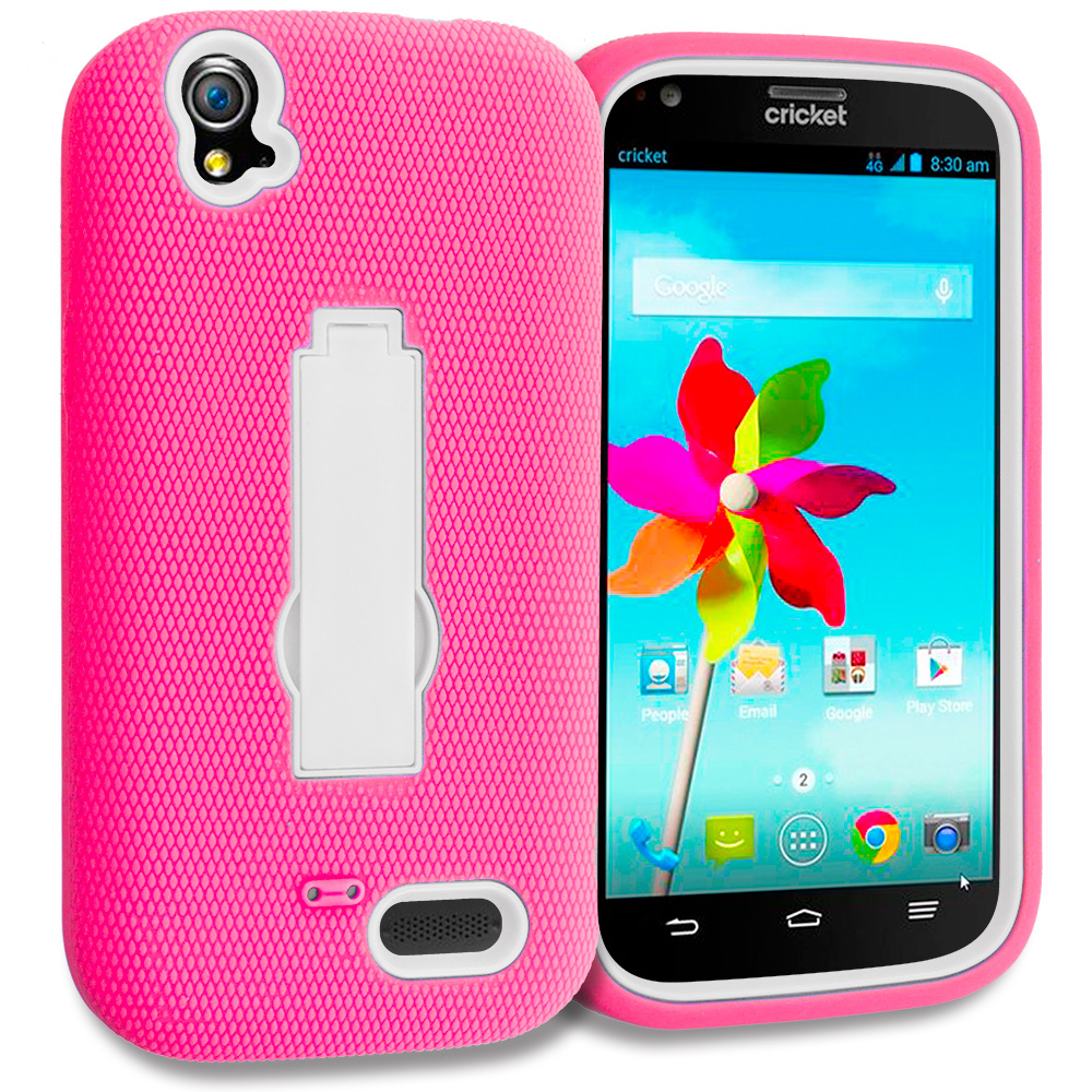 ZTE Grand X Z777 Hot Pink / White Hybrid Heavy Duty Hard Soft Case Cover with Kickstand