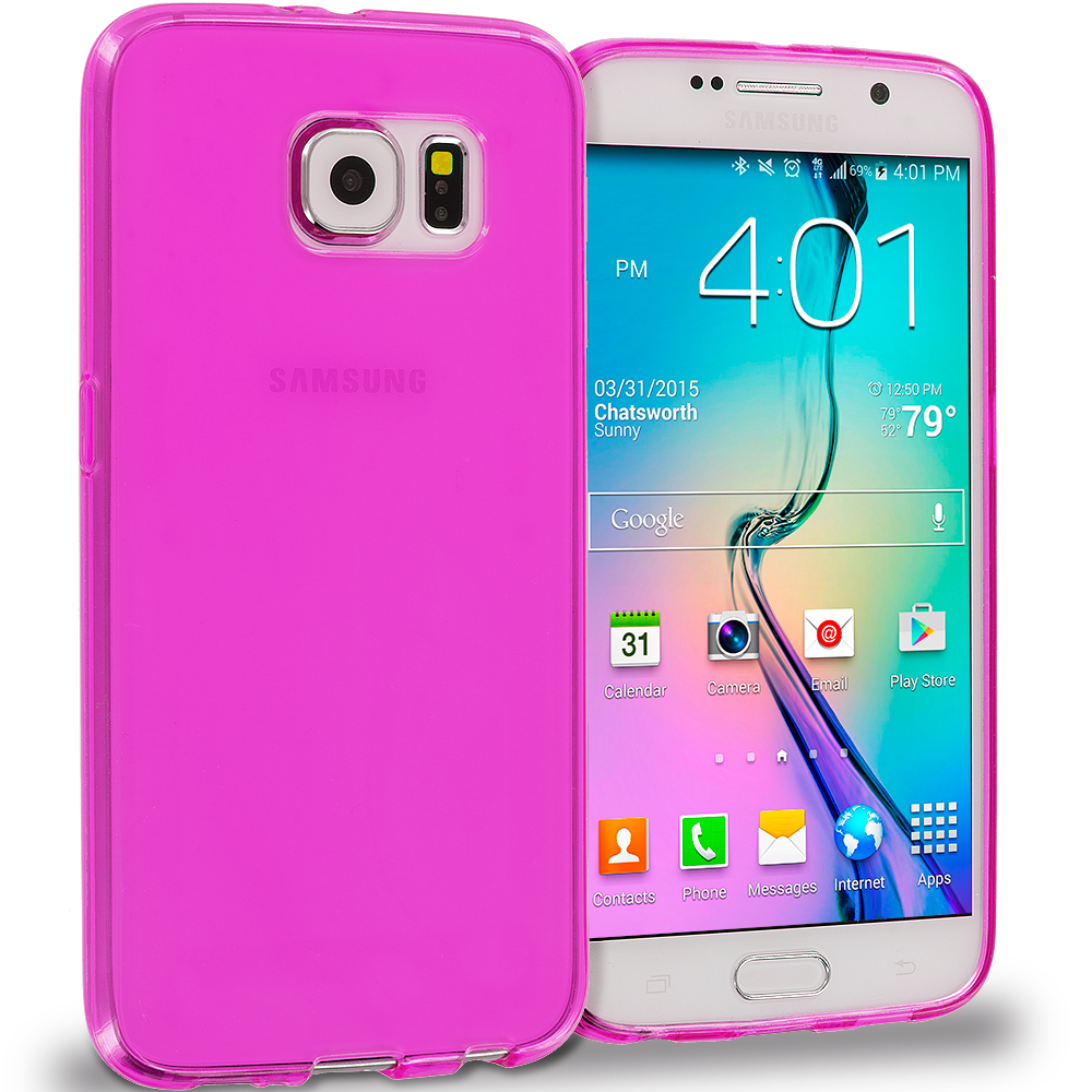 Samsung Galaxy S6 11 in 1 Combo Bundle Pack - Baby Blue Plain TPU Rubber Skin Case Cover : Color Hot Pink Plain