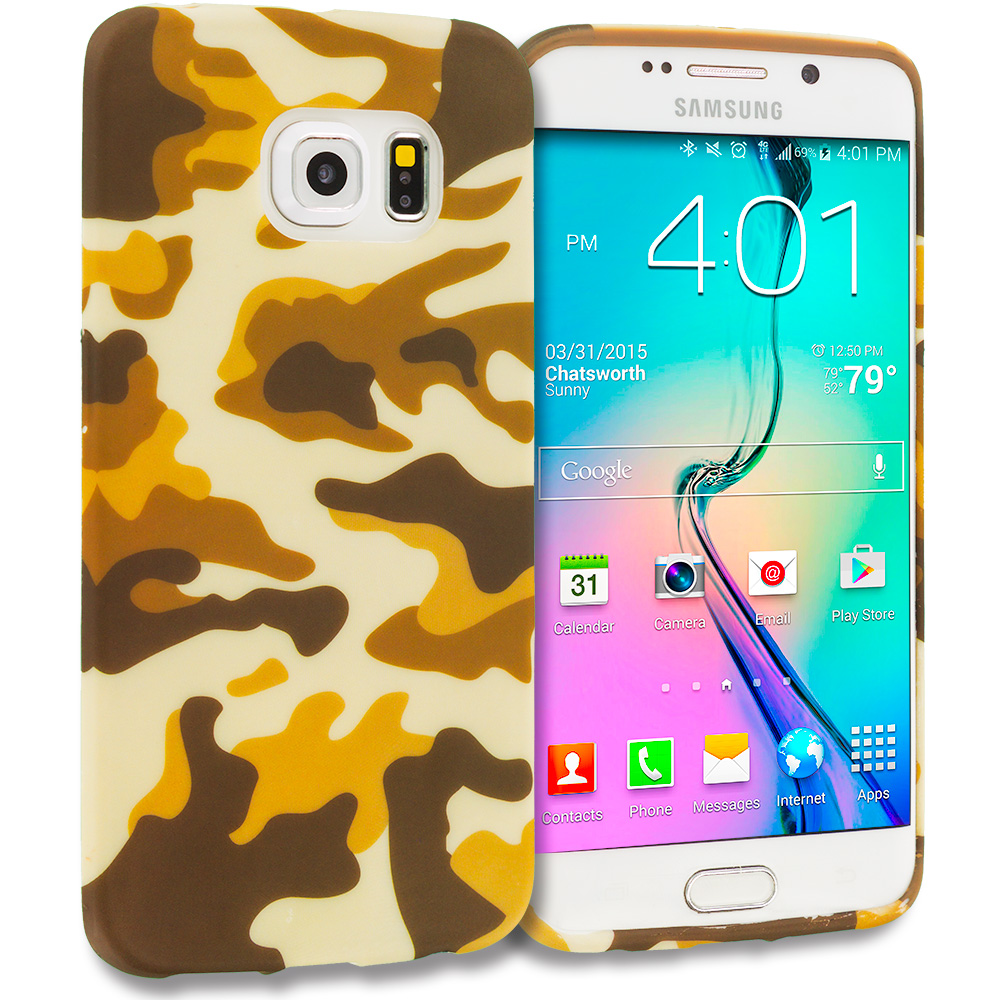 Samsung Galaxy S6 Edge Camo TPU Design Soft Rubber Case Cover
