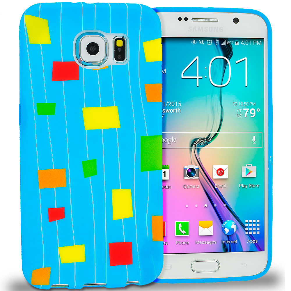 Samsung Galaxy S6 Edge Baby Blue Square TPU Design Soft Rubber Case Cover