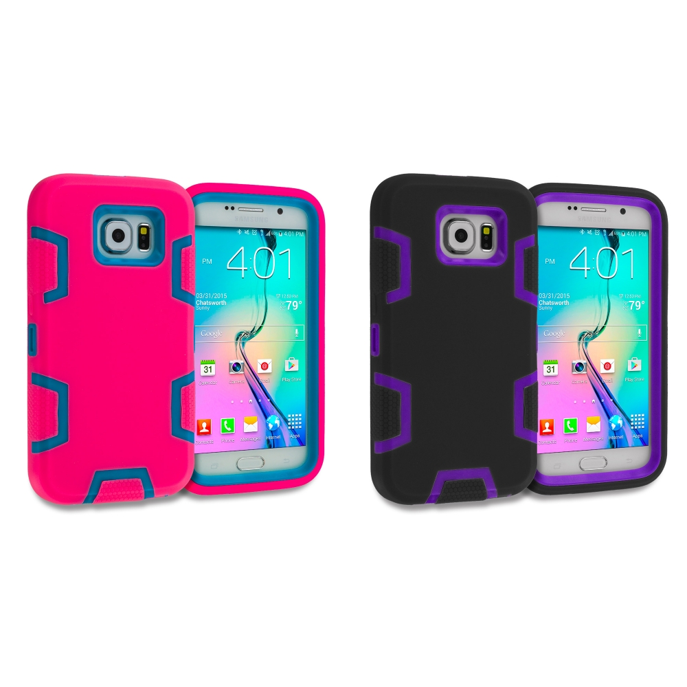 Samsung Galaxy S6 Combo Pack : Hot Pink / Baby Blue Hybrid Defender Heavy Duty Shockproof Armor Hard Soft Case Cover
