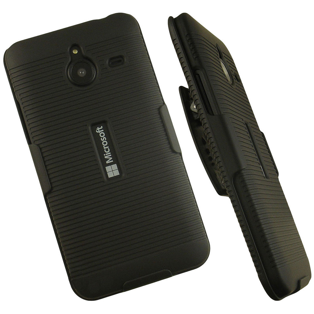 Microsoft Lumia 640 XL Black Belt Clip Holster Hard Case Cover