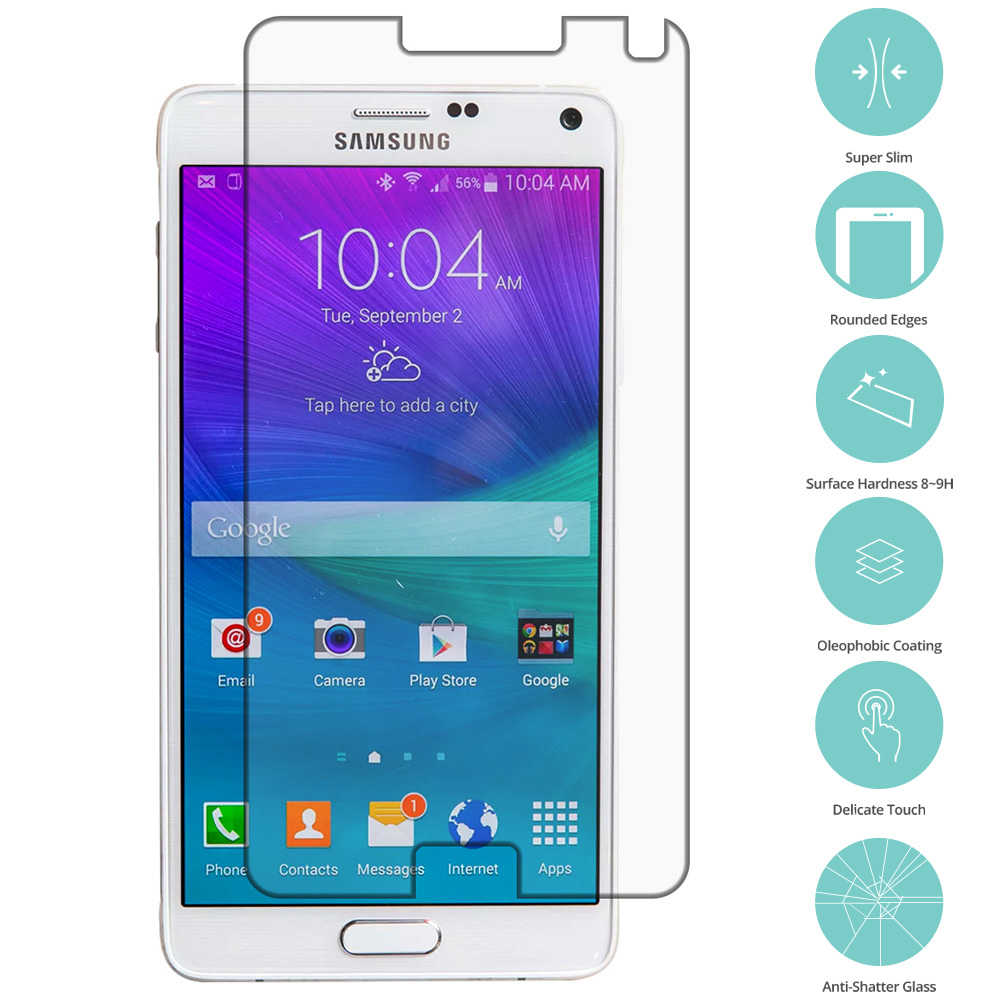 Samsung Galaxy Note 4 Clear Tempered Glass Film Screen Protector Clear
