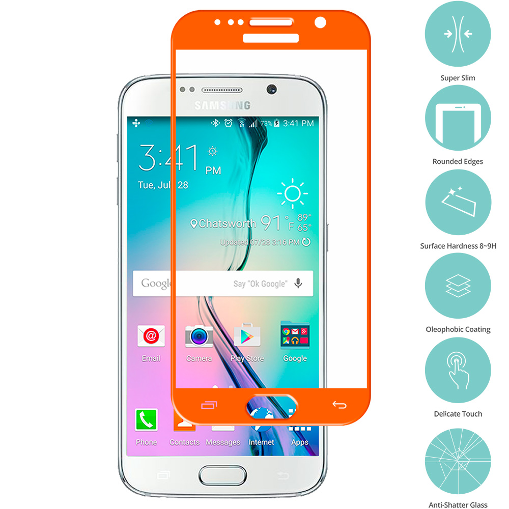Samsung Galaxy S6 Orange Tempered Glass Film Screen Protector Colored