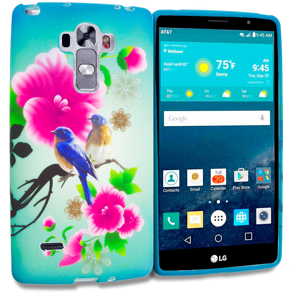 LG G Vista 2 Blue Bird Pink Flower TPU Design Soft Rubber Case Cover