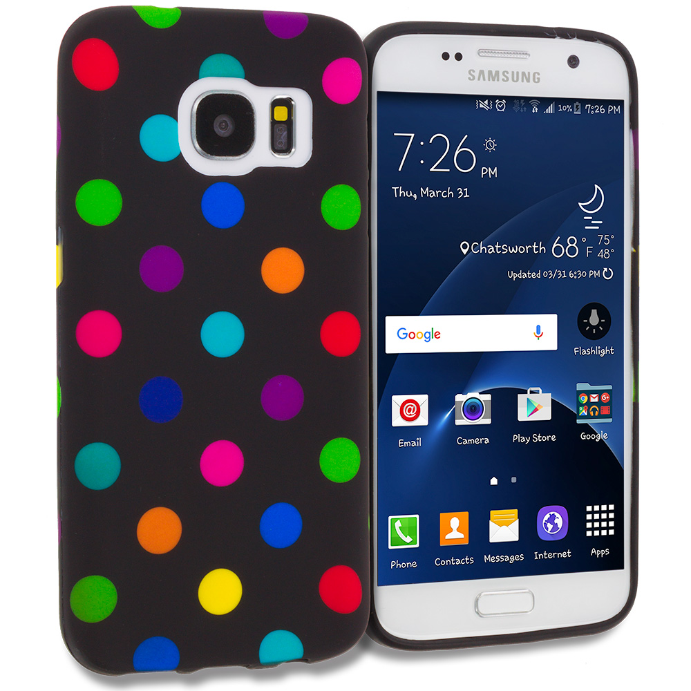 Samsung Galaxy S7 Combo Pack : Black / Colorful Polka Dot TPU Design Soft Rubber Case Cover : Color Black / Colorful Polka Dot