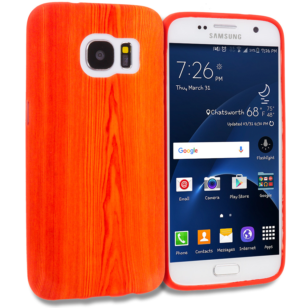 Samsung Galaxy S7 Combo Pack : Tiger TPU Design Soft Rubber Case Cover : Color Wood Grain