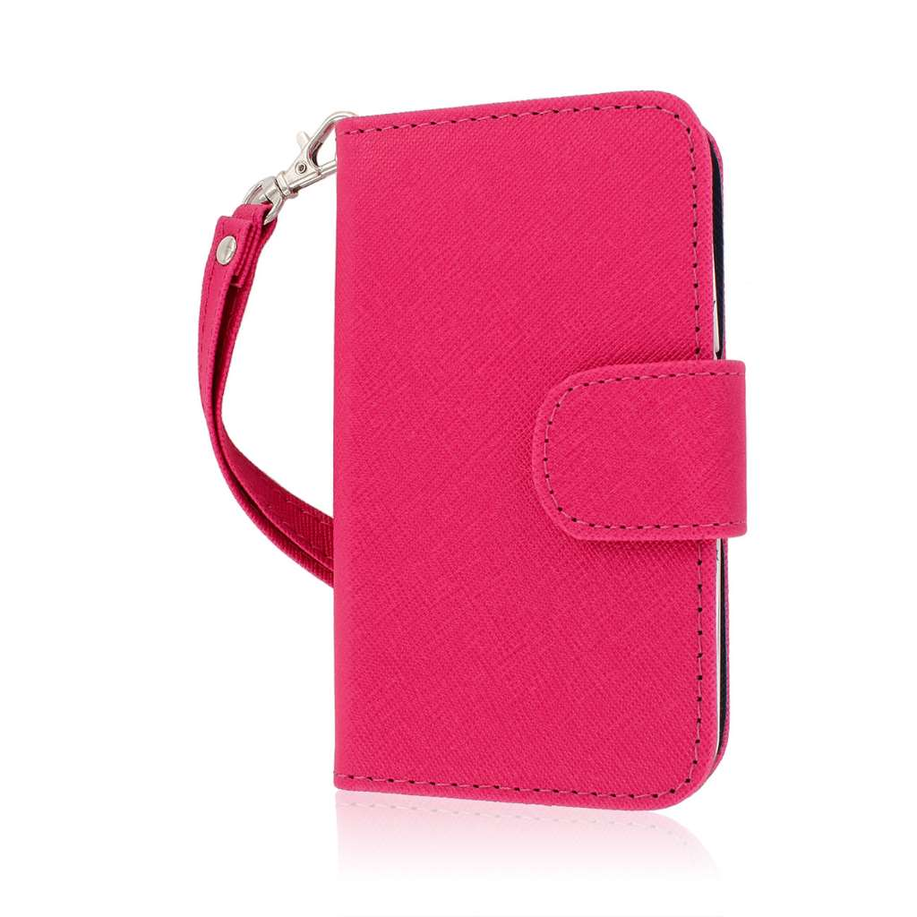 Alcatel OneTouch Evolve - Pink/ Navy Blue MPERO FLEX FLIP Wallet Case Cover