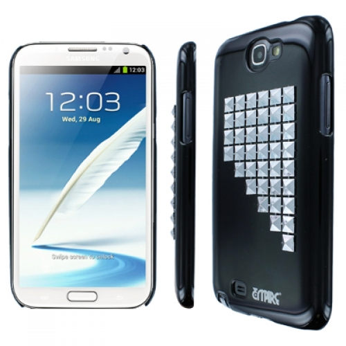 Samsung Galaxy Note 2 MPERO Slim Fit Silver Studded Glossy Black Case Cover