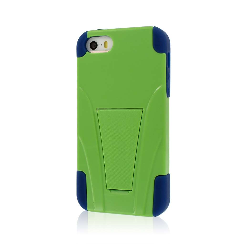 Apple iPhone 5/5S/SE - Blue/ Green Combo Pack : MPERO IMPACT X - Kickstand Case Cover : Color Blue / Green